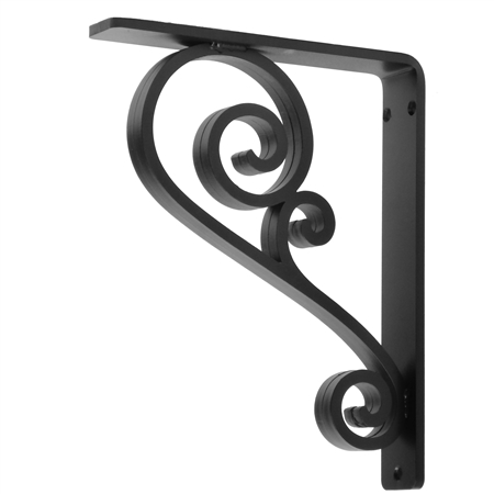 Our Classic Scroll Wrought Iron Corbel Measures 1.5 Wide is available in 6 bracket sizes and 5 finishes. Bracket is made and sold by Timeless Wrought Iron
