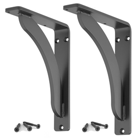 Pictured here are the Stout 7-inch Shelf Brackets with a timeless flat black powder coat finish.