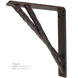 "Our Torches Wrought Iron Corbel Measures 2"" Wide is available in 6 bracket sizes and 5 finishes. Bracket is made and sold by Timeless Wrought Iron"