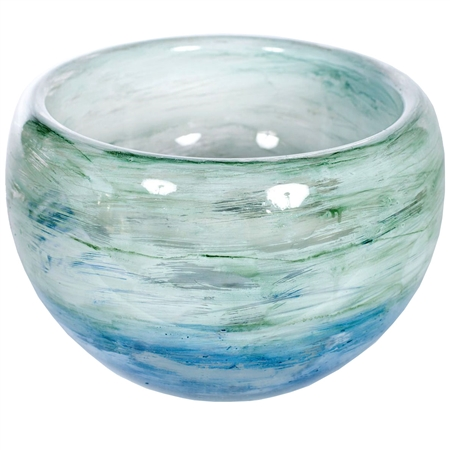Pictured here is the Montauk Bay Glass Bowl made by hand from recycled glass.