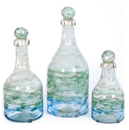 Pictured here is a set of 3 Montauk Bay Glass bottles in small, medium and large sizes.