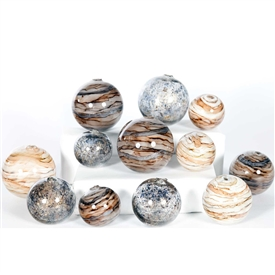Pictured is an assortment of 12 Glass Spheres in random sizes and colors including Stone Court, Driftstone and Sanderling.