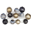 Pictured is an assortment of 12 Glass Spheres in random sizes and colors including Emperors Stone, Cheers and Sea Pearls.