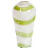 Pictured here is the Bedford Celadon Swirl Glass Vase, hand-made from recycled glass.