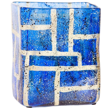 Pictured here is the Hawthorne Rectangular Sapphire Glass Vase, hand-made from recycled glass.