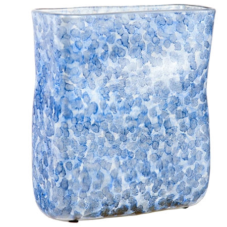 Pictured here is the Montauk Bay Raindrops Small Glass Vase, hand-made from recycled glass.