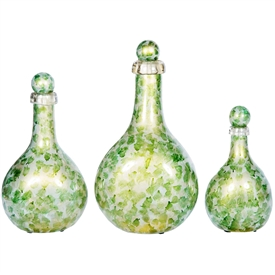 Pictured here is a set of 3 Bedford Glass Bottles with Algae Bloom color in small, medium and large sizes.