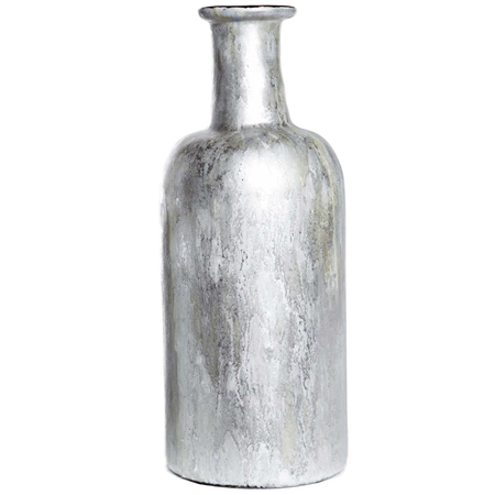 Pictured here is the Shimmering Dawn Large Glass Vase, hand-made from recycled glass.