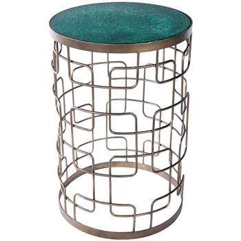 Pictured here is the Contemporary style Henstridge Accent Table with marbled green glass table top.