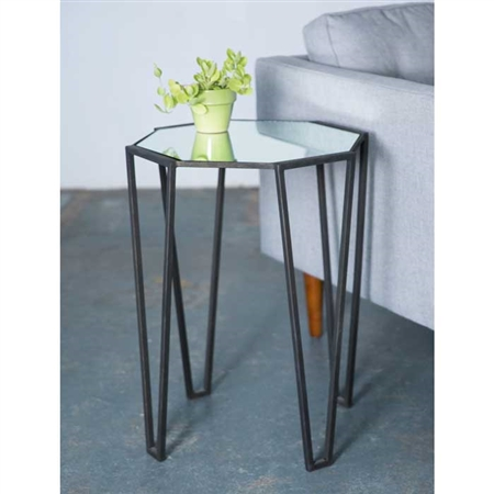 Pictured here is the Wrought Iron Pointed Leg Accent Table with Mirror Top which measures 18in deep x 18in wide x 24-in tall.