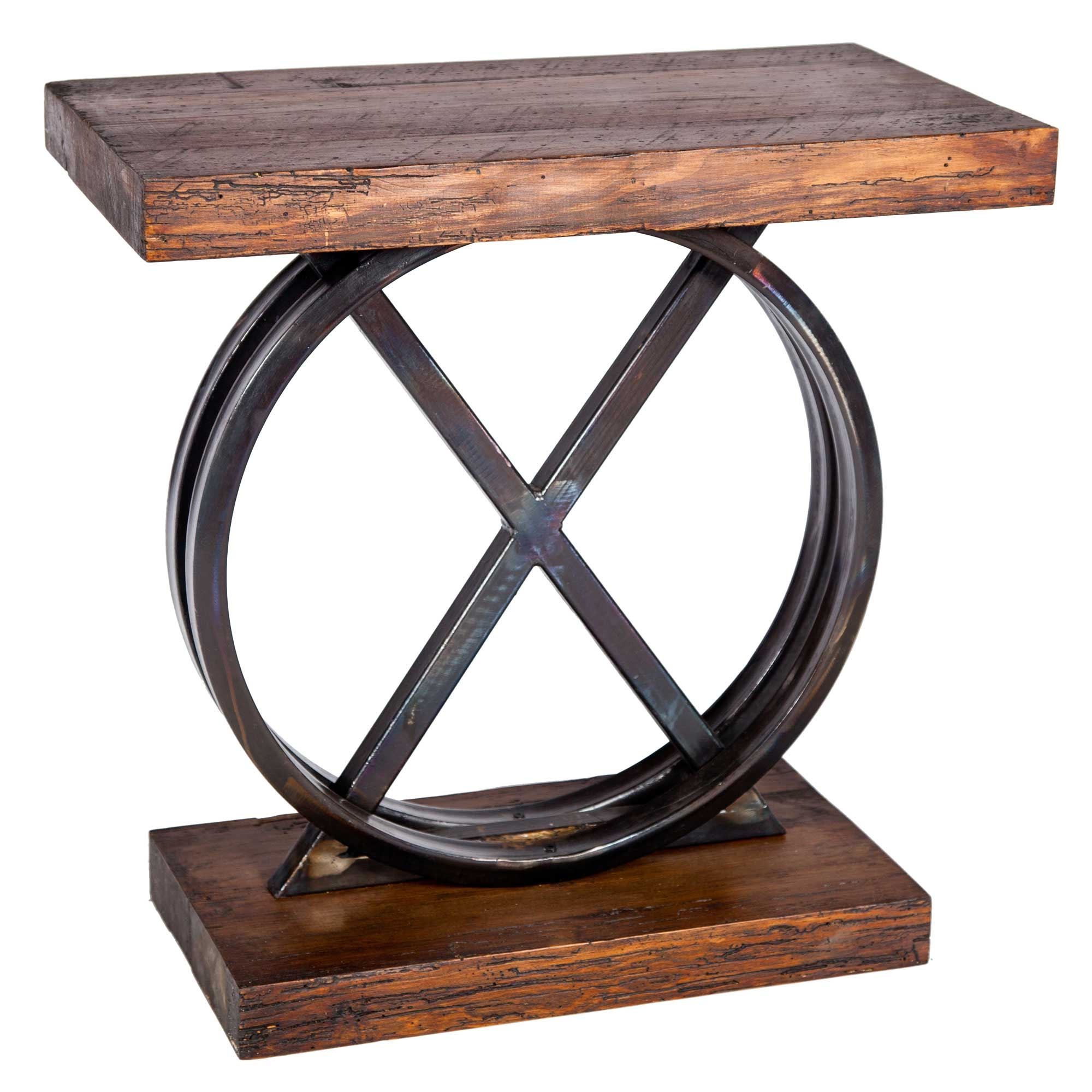 xo iron side table with reclaimed wood top base