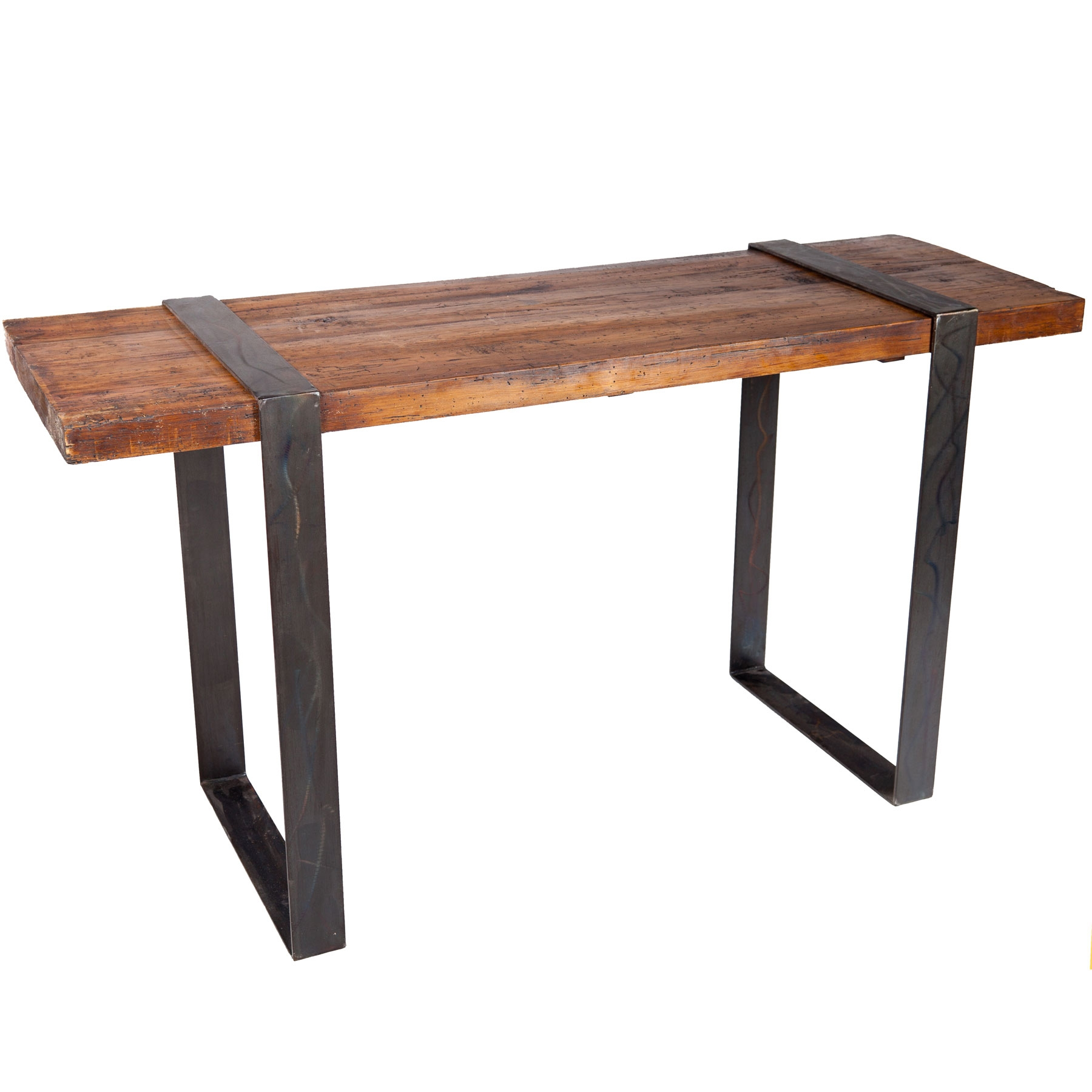 Jackson Rectangular Table With Metal Base: Jackson Iron Console Table With Steel Strap Legs And