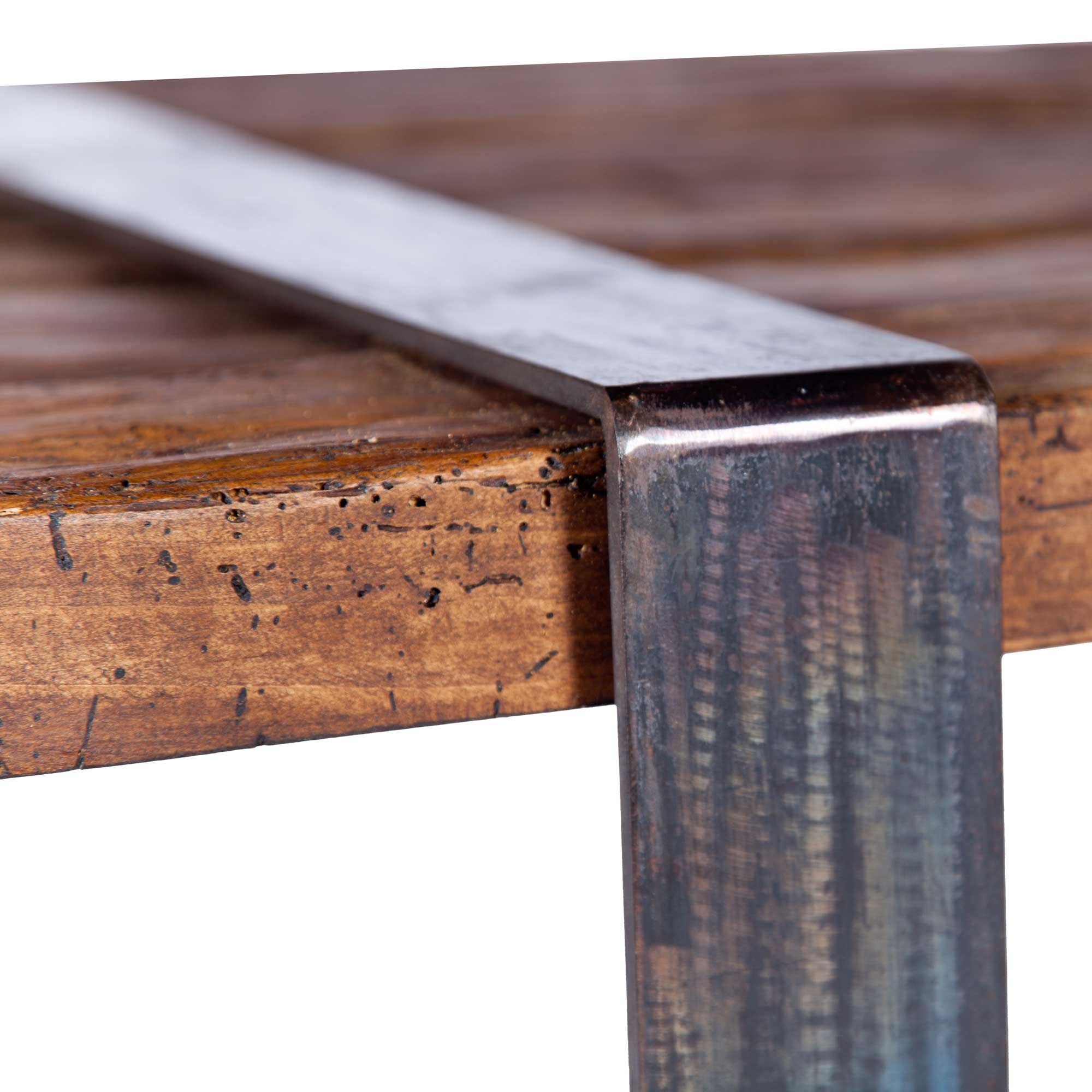 Jackson Iron End Table with Steel Strap Legs and Reclaimed Wood Top