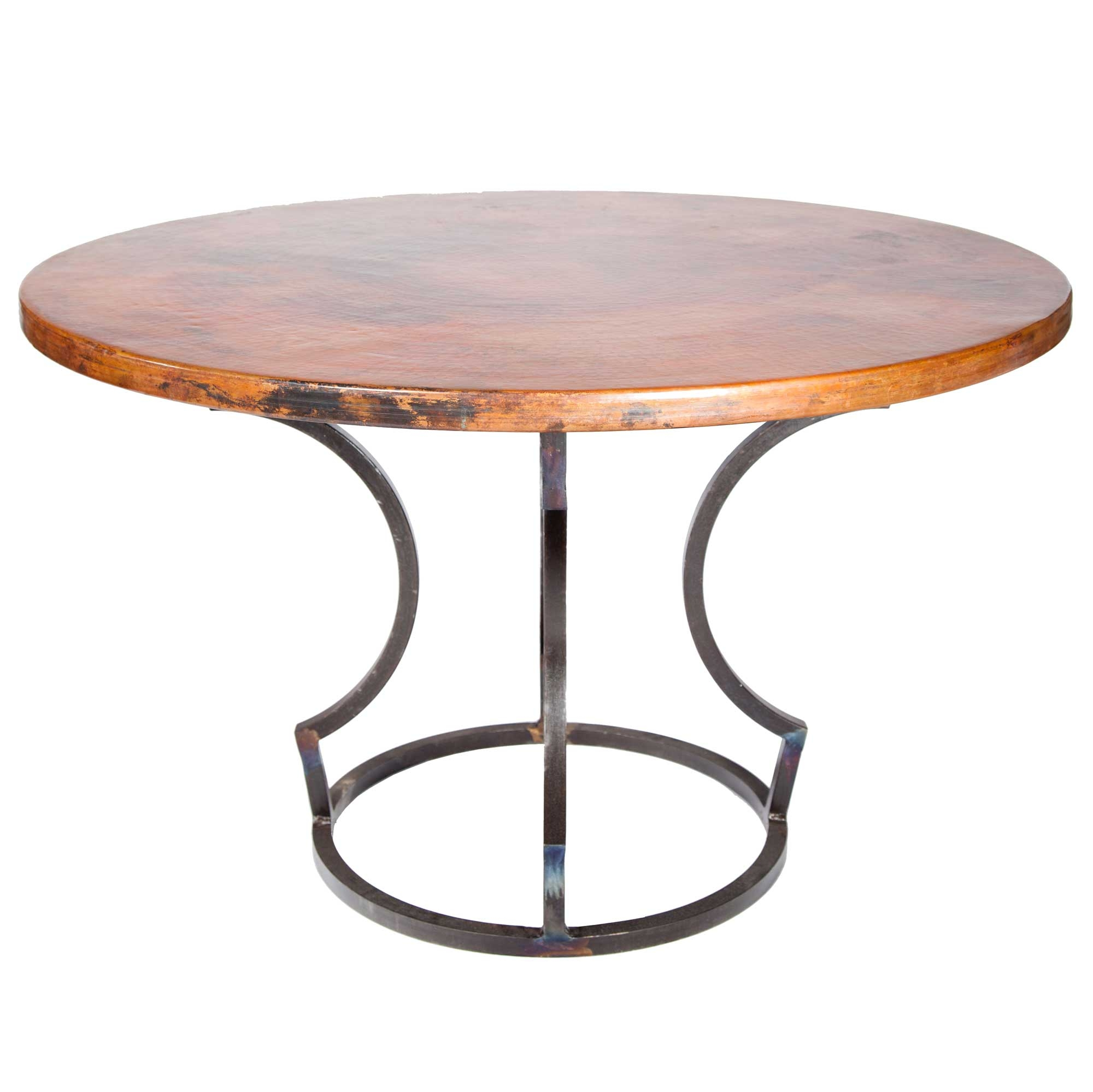 "Charles Iron Dining Table with 48"" Round Hammered Copper Top"