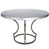 "Pictured here is the Charles Dining Table with Wrought iron base and 48"" Round Hammered Zinc Table Top"