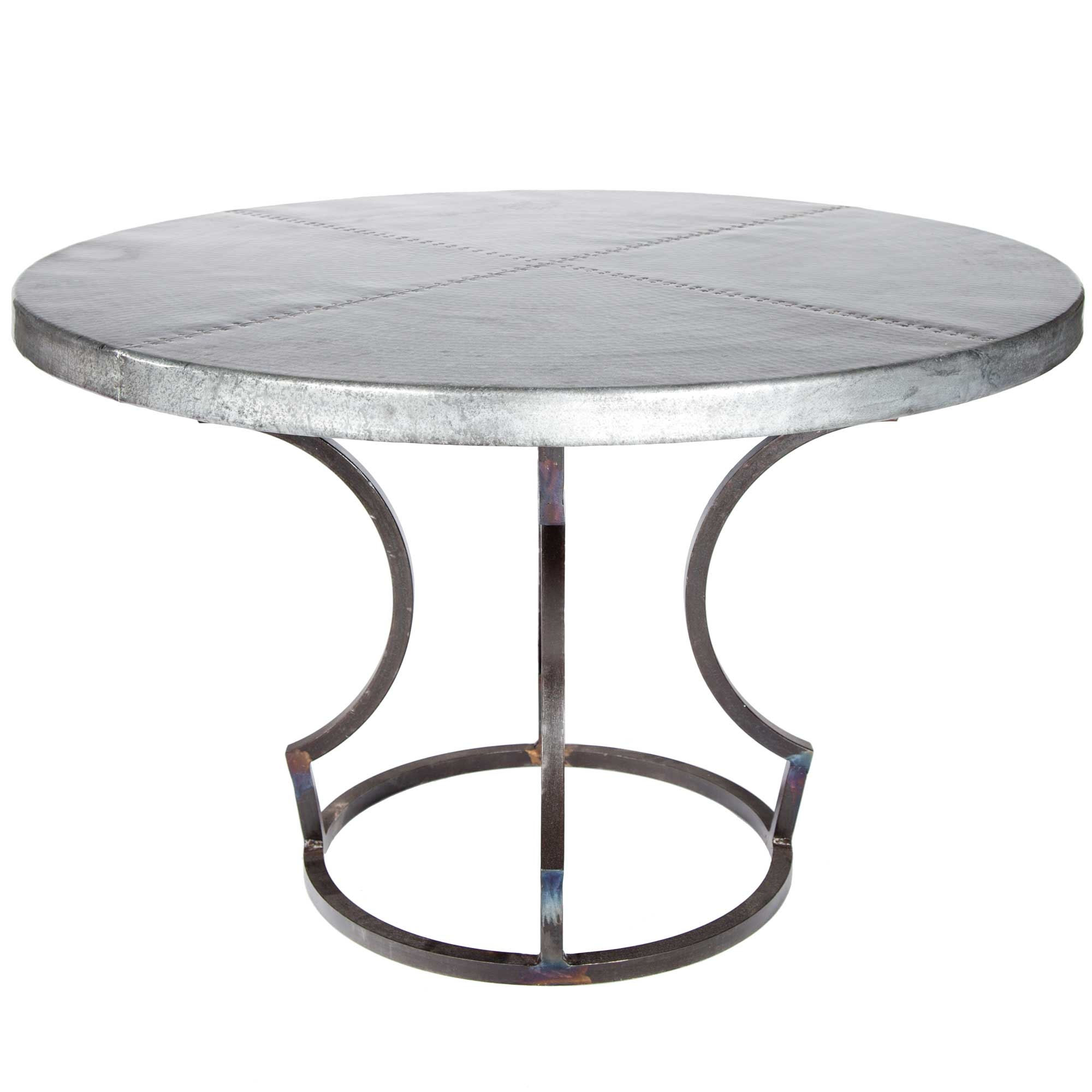 Charles Iron Dining Table With 48 Round Hammered Zinc Top
