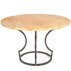 "Pictured here is the Charles Dining Table with Wrought iron base and 48"" Round Marble Table Top"