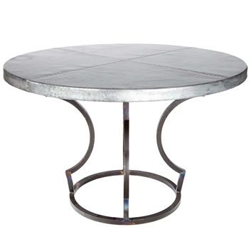 "Pictured here is the Charles Dining Table with Wrought iron base and 54"" Round Zinc Table Top"