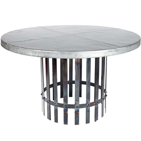 "Pictured here is the Ashton Dining Table with Wrought iron base and 48"" Round Zinc Copper Table Top"