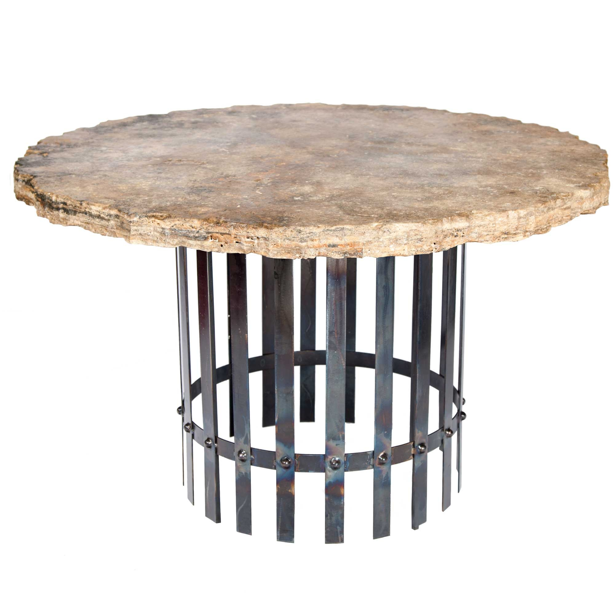 Ashton Iron Dining Table With 48 Round Marble Top