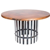 "Pictured here is the Ashton Dining Table with Wrought iron base and 54"" Round Hammered Copper Table Top"