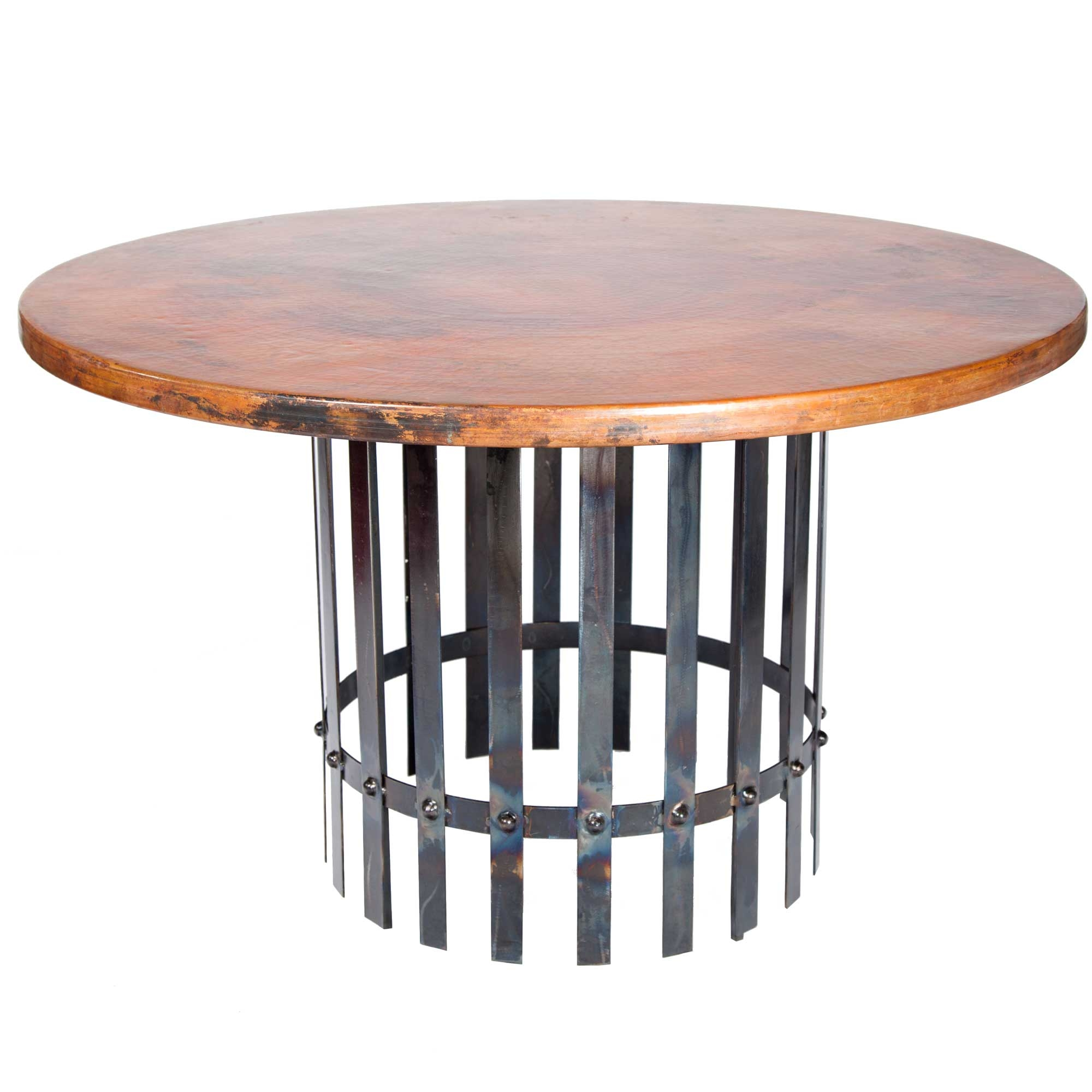 Ashton Iron Dining Table With Round Hammered Copper Top - Hammered copper round dining table