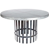 "Pictured here is the Ashton Dining Table with Wrought iron base and 54"" Round Hammered Zinc Table Top"