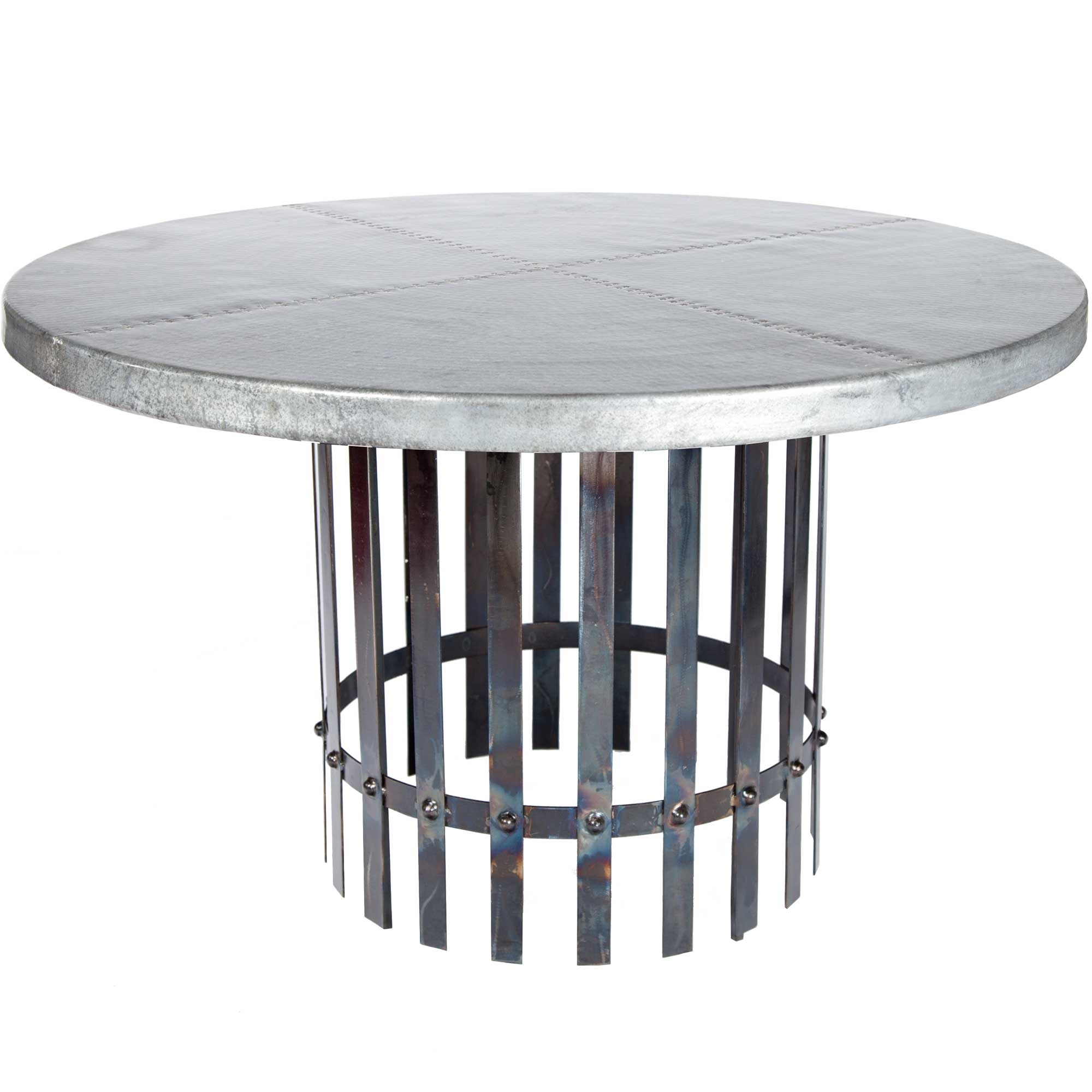"Ashton Iron Dining Table with 54"" Round Hammered Zinc Top"