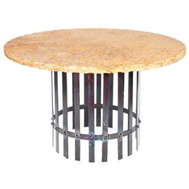 Pictured here is the Ashton Dining Table with Wrought iron base and 54-in Round Marble Table Top
