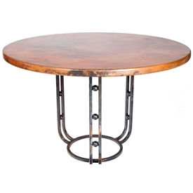 "Pictured here is the Clayton Dining Table with Wrought iron base and 48"" Round Hammered Copper Table Top"