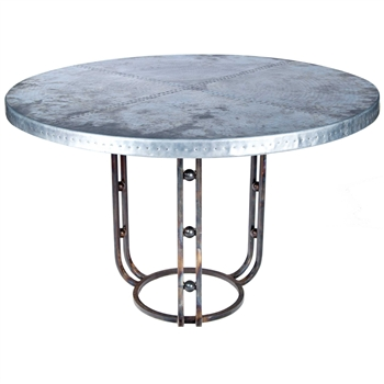 "Pictured here is the Clayton Dining Table with Wrought iron base and 48"" Round Hammered Zinc Table Top"