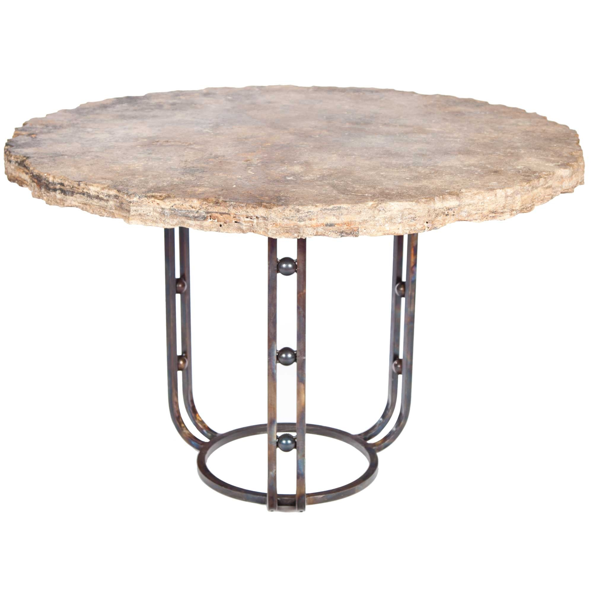 Clayton Iron Dining Table With 48 Round Marble Top