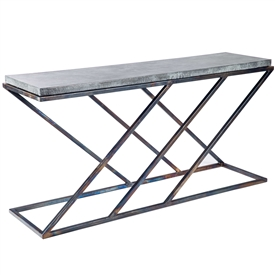 Pictured Here Is The Carter Console Table With Hammered Zinc Top With  Wrought Iron Base And