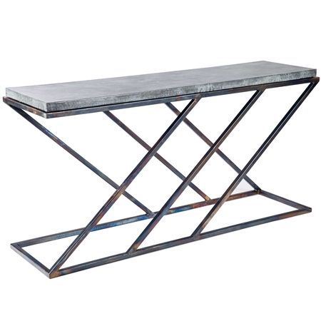 Pictured here is the Carter Console Table with Hammered Zinc Top with Wrought iron base and Hammered Zinc Table Top