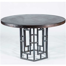 "Pictured here is the Hudson Dining Table with Wrought iron base and 48"" Round Dark Brown Hammered Copper Table Top"