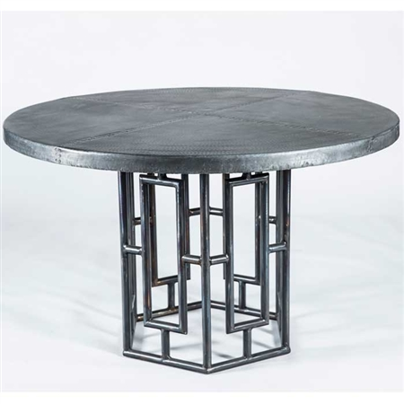"Pictured here is the Hudson Dining Table with Wrought iron base and 48"" Round Hammered Zinc Table Top"
