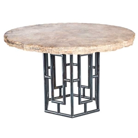 "Pictured here is the Hudson Dining Table with Wrought iron base and 48"" Round Live Edge Table Top"