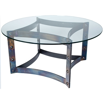 Pictured here is the Sebastian Cocktail Table with Wrought iron base and Glass Table Top