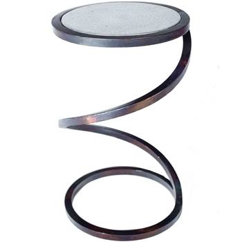 Pictured is the Spiral Round Accent Table Base available in 3 finish options and supports a 10.5 inch round table top of your choice.