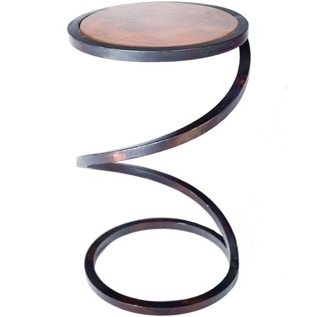 Pictured here is the Spiral Round Accent Table with Wrought iron base and Hammered Copper Table Top