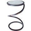 Pictured here is the Spiral Round Accent Table with Wrought iron base and Hammered Zinc Table Top
