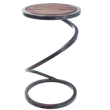 Pictured here is the Spiral Round Accent Table with Wrought iron base and Reclaimed Wood Table Top