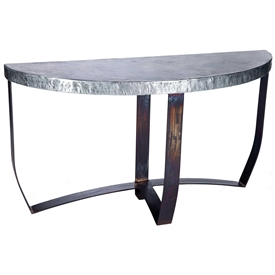 Pictured is the Demi Lune Strap Console Table Base available in 3 finish options and supports a 54 inch by 18 inch table top of your choice.