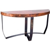 Pictured here is the Demi Lune Strap Console Table with Wrought iron base and Hammered Copper Table Top