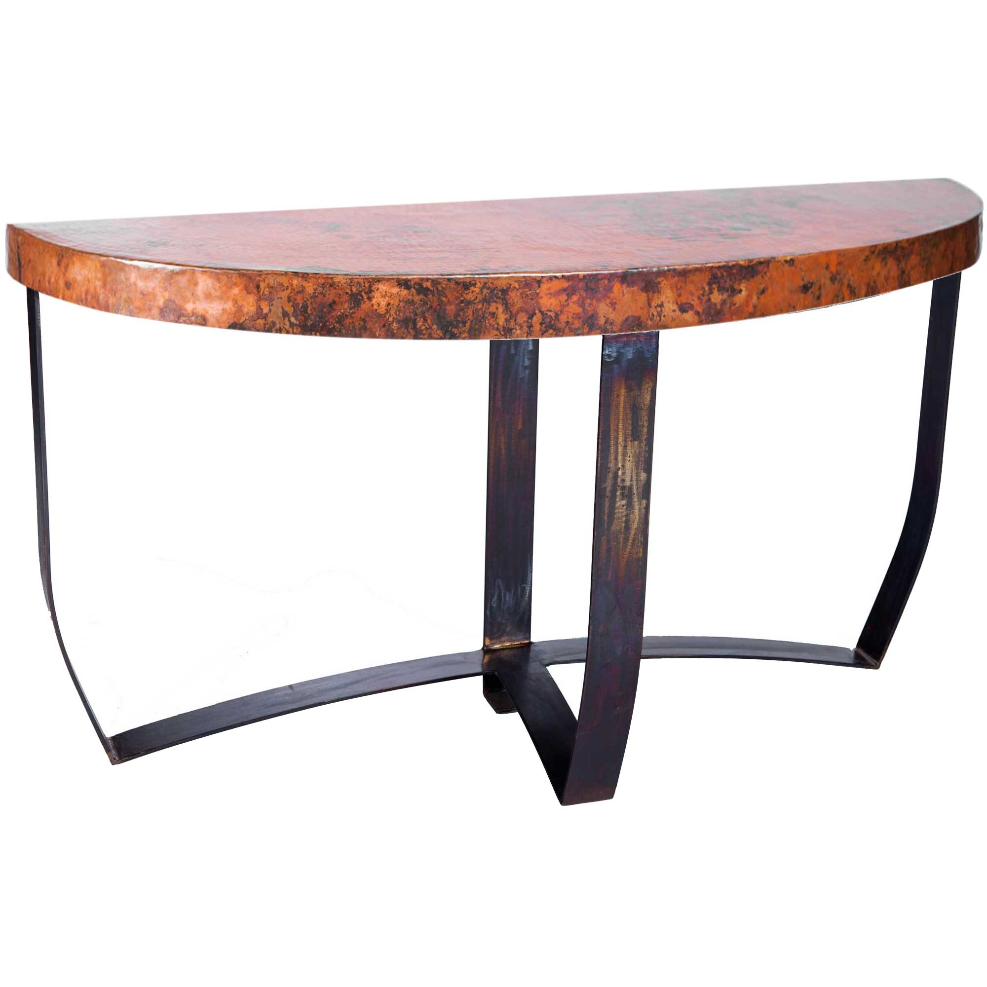 Attractive Pictured Here Is The Demi Lune Strap Console Table With Wrought Iron Base  And Hammered Copper