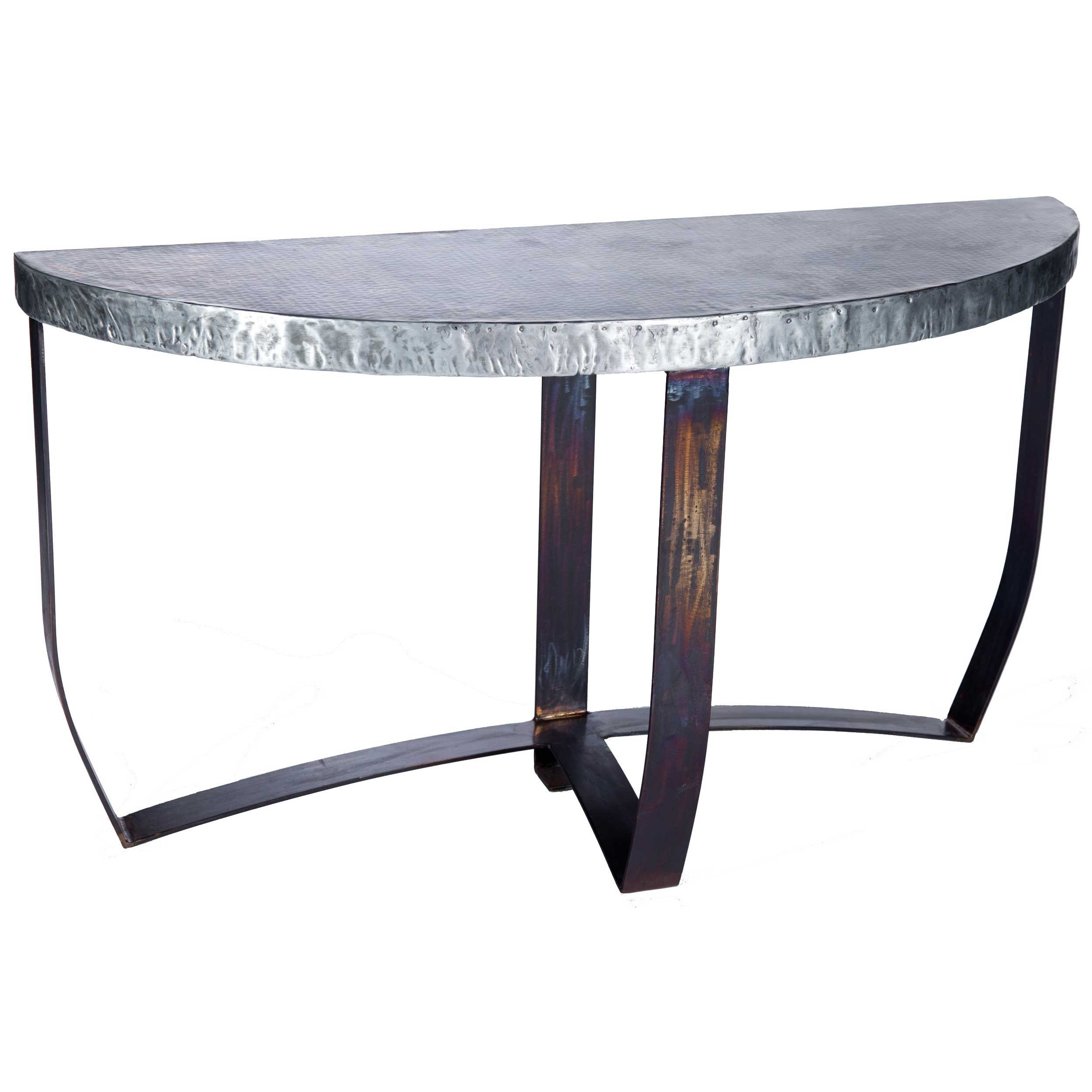 Demi Lune Iron Strap Console Table with Hammered Zinc Top : TWI PM 2M5 F 525B 2 from www.timelesswroughtiron.com size 2500 x 2500 jpeg 552kB