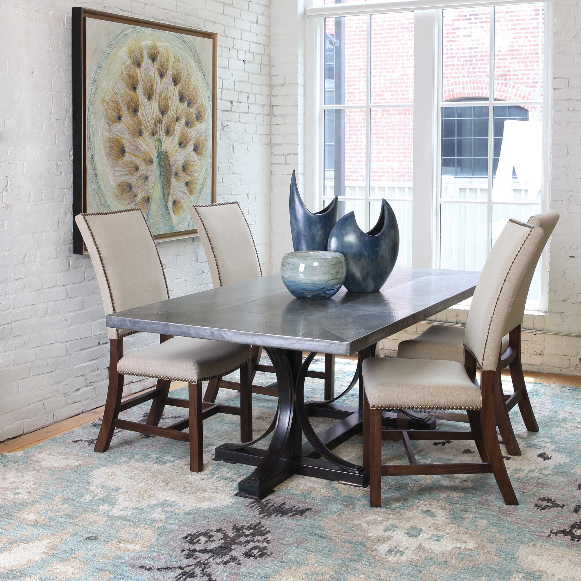 Copper Top Kitchen Table Winston Rectangle Dining Table With Hammered Copper Top