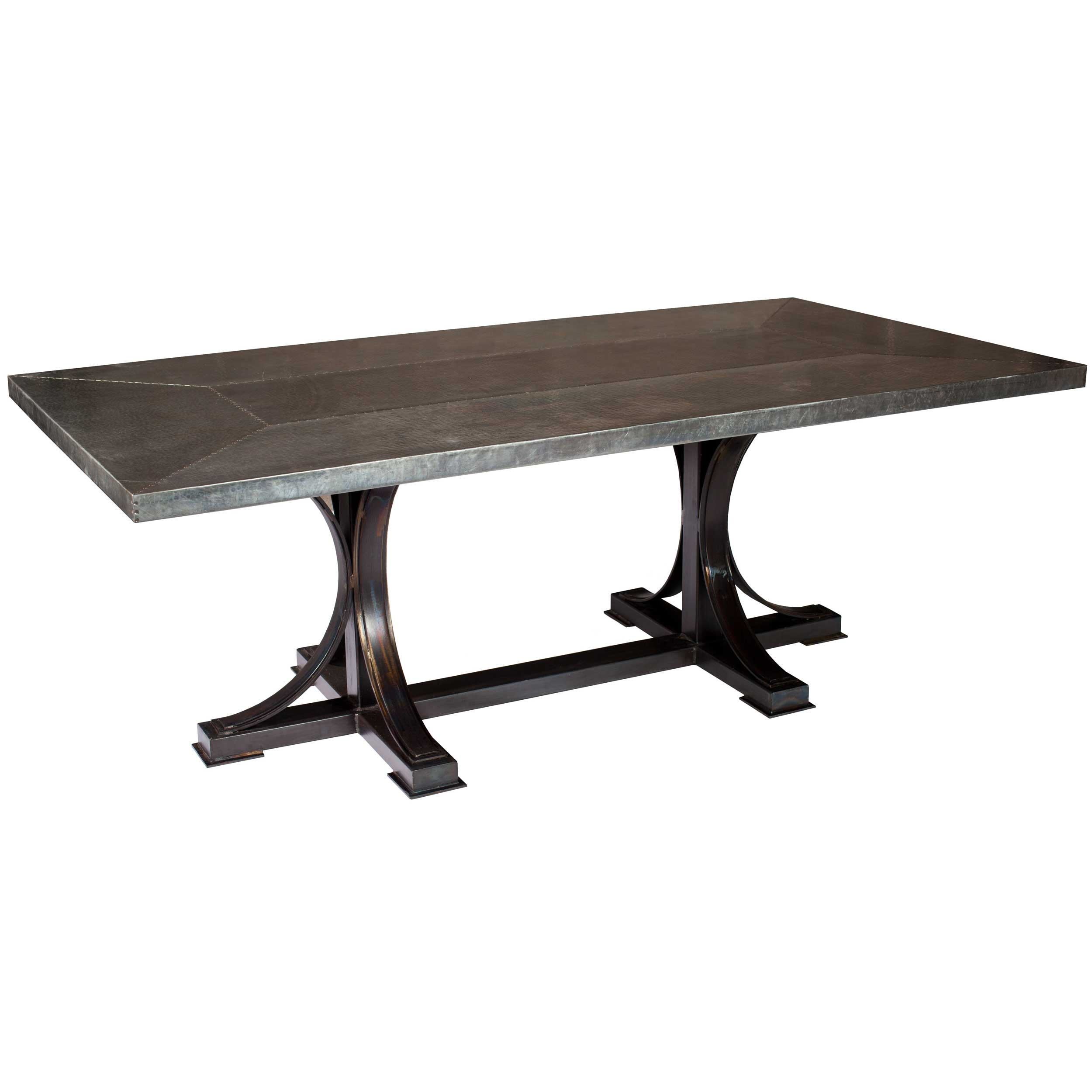 Winston Rectangle Dining Table with Hammered Zinc Top