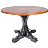 "Pictured here is the Winston Dining Table with Wrought iron base and 48"" Round Hammered Copper Table Top"