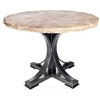 "Pictured here is the Winston Dining Table with Wrought iron base and 48"" Round Marble Table Top"